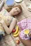 Picknick obenliegend mit Nahrung Lizenzfreies Stockfoto