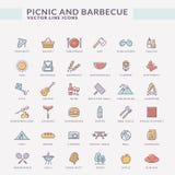 Picknick och grillfest färgade översiktssymboler stock illustrationer