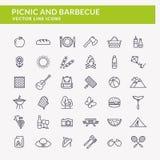 Picknick- och grillfestlinje symboler royaltyfri illustrationer