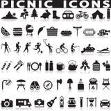 Picknick- och grillfestrengöringsduksymboler Arkivfoton