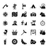 Picknick- och natursymboler royaltyfri illustrationer