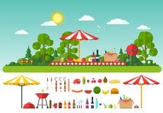Picknick op aard Reeks elementen voor openluchtrecreatie Stock Afbeelding