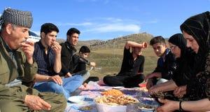Picknick op bergen Stock Foto