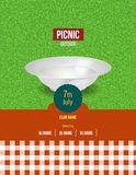 Picknick op verse lucht De zomeruitnodiging, affichemalplaatje, vlieger Stock Afbeelding