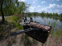Picknick på en fisketur Royaltyfria Foton