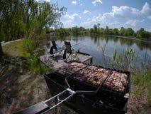 Picknick på en fisketur Fotografering för Bildbyråer