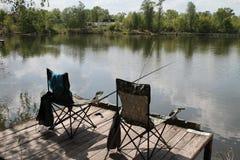 Picknick på en fisketur Arkivfoto