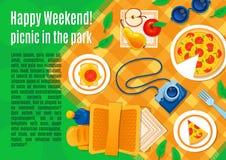 Picknick på gräsvektorillustrationen vektor illustrationer