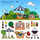 Picknick på sommardag Royaltyfria Bilder