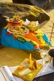 Picknick på stranden Arkivbilder