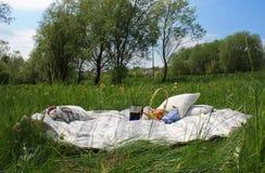 Picknick, Picknick auf dem Gras, eine Decke in der Natur Lizenzfreies Stockfoto