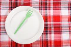 Picknick. plaat op het tafelkleed Stock Fotografie