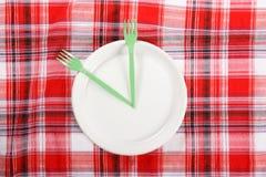 Picknick. platta på tableclothen Royaltyfri Bild