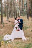 Picknick romantique de forêt de pin d'automne des paires heureuses de nouveaux mariés Images libres de droits