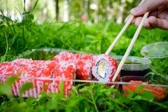 Picknick Sushi draußen an einem Sommertag Lizenzfreie Stockbilder