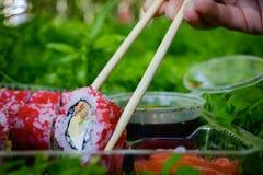 Picknick Sushi draußen an einem Sommertag Lizenzfreies Stockbild