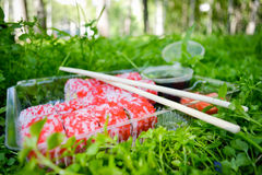 Picknick Sushi draußen an einem Sommertag Stockfoto