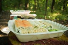 Picknick Sushi in openlucht op een de zomerdag Stock Foto