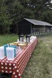 Picknick tabell för en stor grupp människor Arkivfoto