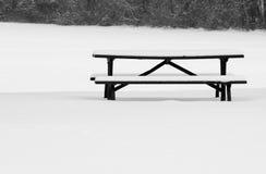 Picknick-Tabelle im Winter Lizenzfreie Stockbilder