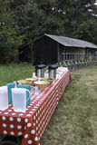 Picknick table for a large group of people Stock Photo