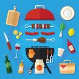 Picknick-und Grill-Lebensmittel-Ikonen-Satz in einem flachen Design Stockfoto