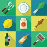 Picknick-und Grill-Lebensmittel-Ikonen-Satz in einem flachen Design Lizenzfreie Stockbilder