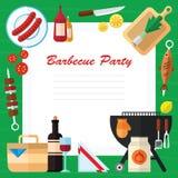 Picknick-und Grill-Lebensmittel-Illustration in einem flachen Design Lizenzfreie Stockfotos