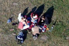 Picknick van meisjes in gras Stock Foto's