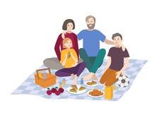 Picknick vektorillustration Familjen med barn tillsammans, utomhus- kopplar av folkrekreationplats i plan stil vektor illustrationer