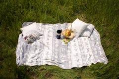 Picknicken Sie auf dem Gras, Tee auf dem natürlichen Stockfotos