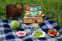 Picknickfilt och korg Arkivbilder