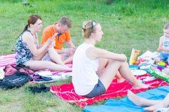 Picknicking people Stock Photo