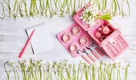 Picknickkarte mit Gedeck und Schneeglöckchen, Tafelsilber, weiße überprüfte Serviette des Rosas lizenzfreies stockfoto