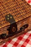 Picknickkorb auf einem Ginghamhintergrund Lizenzfreie Stockfotos