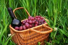 Picknickkorb mit Weinflasche und -trauben auf Rasen des grünen Grases stockfoto