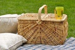 Picknickkorb und -kissen Lizenzfreies Stockbild