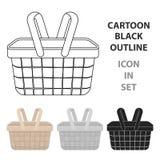 Picknickkorbikone in der Karikaturart lokalisiert lizenzfreie abbildung