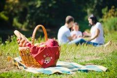 Picknickkorg royaltyfria bilder