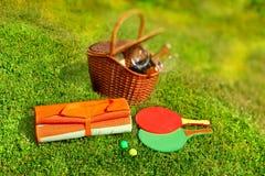 Picknickkorg, filt, racketboll i gräset Arkivfoto