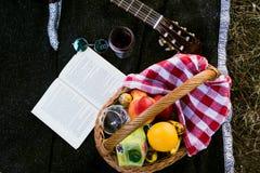 Picknickkorg med frukt och fruktsaft Arkivfoto