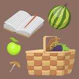 Picknickkorg med illustrationen för vektor för mål för sommar för lunch för behållare för matavkopplingsemester stock illustrationer
