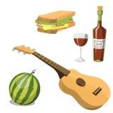 Picknickkorg med illustrationen för vektor för mål för sommar för lunch för behållare för matavkopplingsemester royaltyfri illustrationer