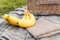 Picknickkorg med mat royaltyfri bild