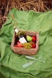 Picknickkorg med mat på grön solig gräsmatta arkivfoton