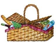 Picknickkorg med mat, vin och mellanmålet stock illustrationer