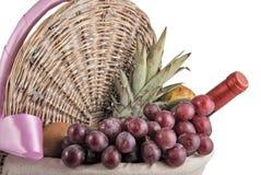 Picknickkorg med tropiska frukter och Wine Arkivbilder
