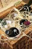 Picknickkorg med wine Arkivbild