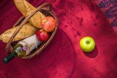 Picknickkorg på den bästa sikten för röd filt Äpplen vitt vin Arkivfoto