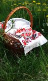 Picknickkorg text f?r bakgrundskorgeaster avst?nd Broderad kanfas Gula maskrosor p? gr?nt gr?s royaltyfri foto